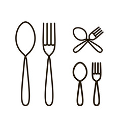 Spoon and fork icon or logo restaurant menu vector