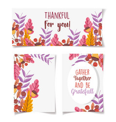 thanksgiving invitation cards floral leaves vector image