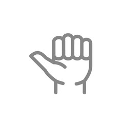 Thumb up line icon like hitchhiking gesture vector