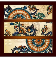 Unique Abstract Ethnic Pattern Card Set vector image