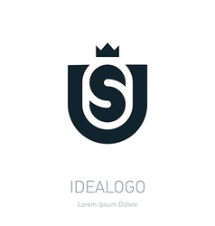 Us initial logo with crown initial monogram vector