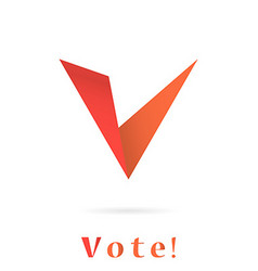 V letter icon elections concep vector image
