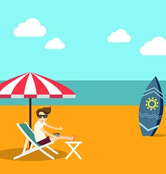 Vacation time summer beach flat design vector image