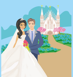 wedding couple in front of a church vector image