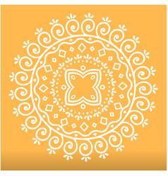 White abstract lotus mandala orange background vec vector