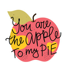 with apple fruit and lettering text you vector image