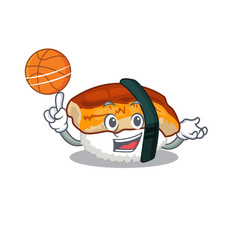 With basketball unagi sushi served above mascot vector