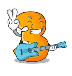 With guitar cartoon number three on wooden door vector