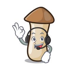 With headphone pleurotus erynggi mushroom mascot vector