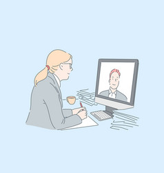 woman making video call concept vector image