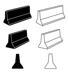 3d concrete road barrier black symbols vector image