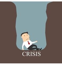 Bankrupt businessman sitting in a crisis pit vector