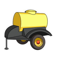 black trailer on wheels with yellow barrel vector image vector image