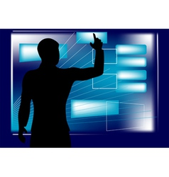 businessman and monitor vector image vector image