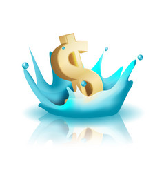 currency water splash gold dollar vector image