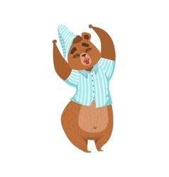 Girly Cartoon Brown Bear Character In Pyjamas vector image