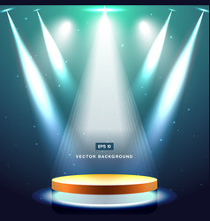gold stage with spotlight and star on deep blue vector image vector image