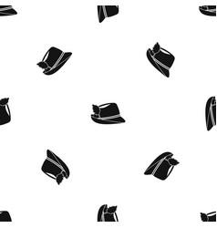 irish hat pattern seamless black vector image