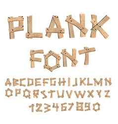 Plank font Wooden table alphabet Old boards with vector image