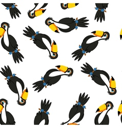 Seamless Funny Cartoon Toucan vector image