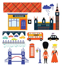 London landmarks and symbol set funny design vector image