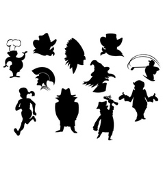 set of cartoon silhouettes isolated on white backg vector image vector image