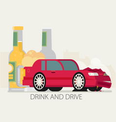 alcohol influenced driving causes car crash vector image