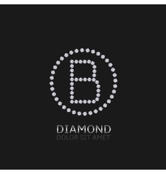 B letter with diamonds vector image