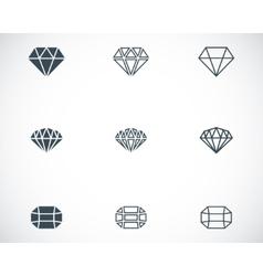 black diamond icons set vector image