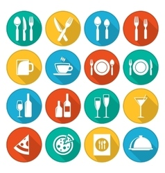 Colorful restaurant icons set vector image vector image