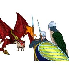 Dragon and knights vector image