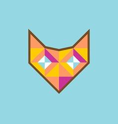 Geometric fox head logo with diamond eyes vector image vector image