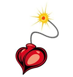 Heart bomb in cartoon style vector image vector image