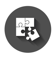 Puzzle icon flat with long shadow vector