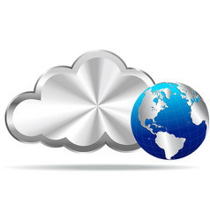 Silver Cloud and World Icon vector image