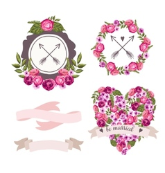 Wedding collection with hand-drawn flowers vector image vector image