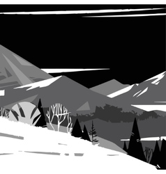 Black and white image of stylized mountains vector