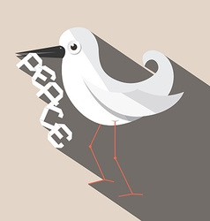 Dove Bird with Paper Peace Title vector image vector image