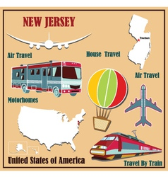 Flat map of New Jersey vector image vector image