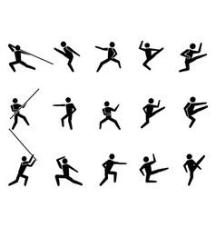 martial arts symbol people icons vector image vector image