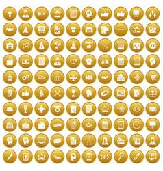 100 business strategy icons set gold vector