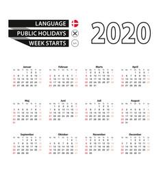 2020 calendar in danish language week starts from vector