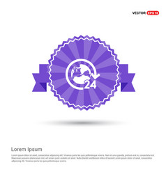 24 hours worldwide service icon - purple ribbon vector