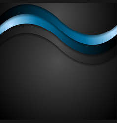 Abstract black and blue wavy design vector image