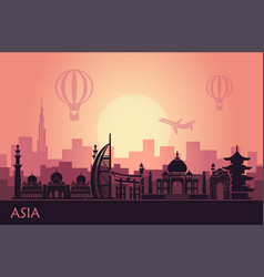 abstract urban landscape with landmarks asia vector image