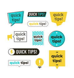 advice tip quick tips helpful tricks and vector image
