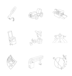 Airport check-in icons set outline style vector