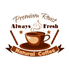 Always fresh natural coffee icon vector