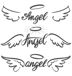 angel wings icon sketch collection religious vector image vector image