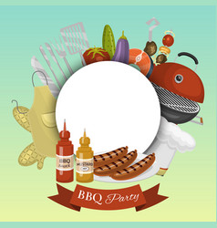 Barbeque picnic party poster meat steak roasted on vector